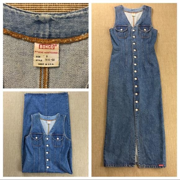 b523db058d1 BONGO Dresses   Skirts - BONGO VINTAGE 90 S DENIM JEAN BUTTON MAXI ...